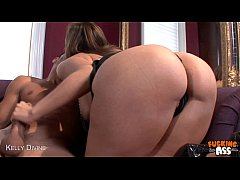 Brunette Kelly Divine riding cock anally