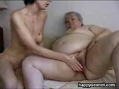 Real amateur. Lesbian granny masturbated by younger