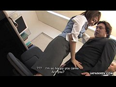 Asian office worker gretting the CEO with her pussy