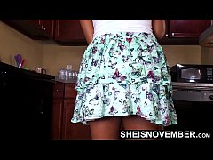 Attactive Step Daughter UpSkirt White Panties Inside Cute Booty Clean Before Daddy Arrives , Tiny Black Babe Msnovember Panty In Ass Cheeks Walking Around Kitchen HD On Sheisnovember