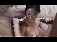 Asian takes 2 monster black cocks