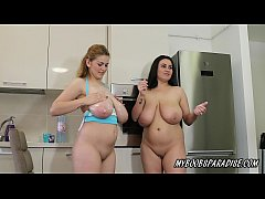 Busty Sister Erin and Helen Star playing in kitchen
