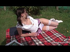 Sublime small titted student deep anal fucked outdoor
