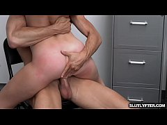 Natalia gets naked and suck the officers rock hard man meat putting it deep inside her throat
