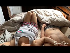 Romantic morning cuddling turns into intese sex and hot blowjob - step sister has fun with her brother