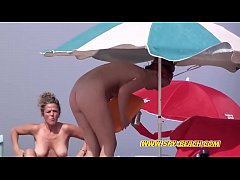 Two Sexy Nudist Beach Voyeur MILFs Hidden-Cam V...