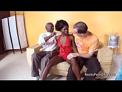 Three guys get very hands on with black lady