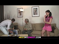 Old couple and young pigtailed teen girl