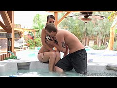 thumb brooke gets her pussy licked in the jacuzzi