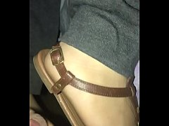 Bf cums on my cute toes and sandals