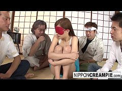 Tied up teen blows them all then gets a cream f...