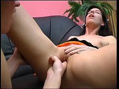 Finger fucking her wet muff before lesbians pus...