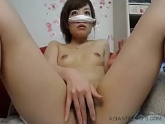 Asian amateur babe is playing with her pussy on...