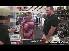 Handsome guy given money to fuck two homo pawn shop workers
