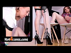 Whore office mom rubs pussy and squirting on her white stockings while new girl masturbates   SEE ME LIVE at katehaven.hot4cams.com
