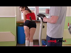 Horny teen Sasha Rose's young pussy gets wet over massive dick at the gym GP261
