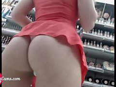 Slut flashing and fucking in store I Watch her live at PlanetSexCams.com