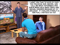 slut bimbo big boobs big tits busty milf mom fucks her sons young frings double penetration at home while cheating on her husband while son watches and masturbates cum 3d comic cartoon on marital bed