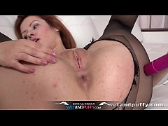 Wetandpuffy - Pantyhose wearing redhead teases her puffy pussy and ass