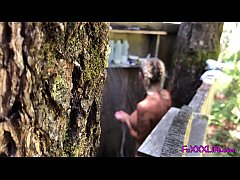 Hot outdoor shower in the woods - TheFoxxxLife -