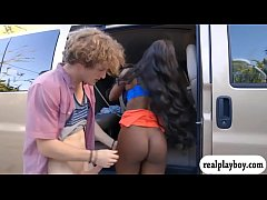 Huge boobs ebony gets pounded in the van