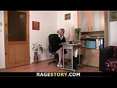 Office blonde in white stockings takes it rough
