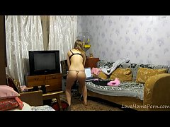 Petite blonde teen enjoys stripping her outfit