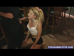 Slutty blonde teen forced to fuck cop for drug possesion