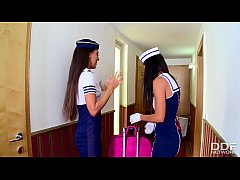 Flight Attendants Lorena and Alexa Tomas INCREDIBLE Lesbian Video