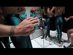 Real casual blowjob of an amateur couple in a fitting room. Sasha Bikeyeva