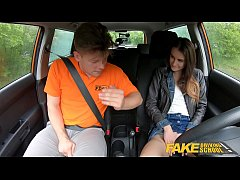 Fake Driving School Cute teen brunette pussy stretched