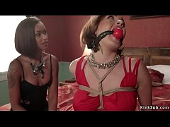 Interracial subs are tormetned on hogtie