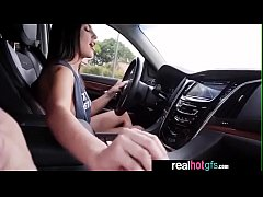August Ames sexy big tits girlfriend drive and play with cock
