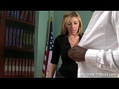 Blonde mature lady boss Sara Jay in fucking interview with black applicant