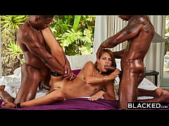 BLACKED Hubby has a double BBC surprise for hot...