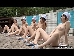 Japanese schoolgirls are naked and masturbating during the class, uncensored