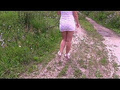 Compilation of amateur scenes with a golden shower in outdoors.