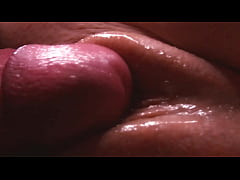 Slow-mo. Extremely close-up. Finished in between her pussy lips