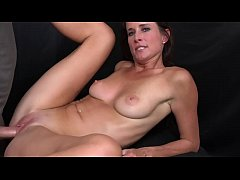 Brunette MILF with smoking body takes big facial