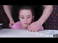 Submissive Jessica Kay gets facefucking and faceslapping and eats ass in a sick game of dominoes