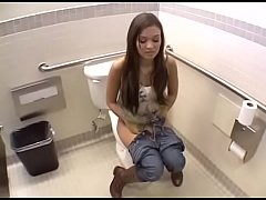 Public bathroom sex with hot brunette