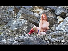 Alexsis Faye Busty SuperWoman Cosplay outdoor playing