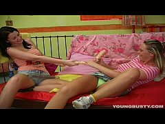 Busty teen Kate gets pussy toyed by a lesbian