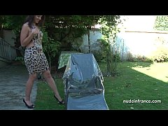 Solo amateur tanned brunette masturbating fingering and toying with oil outdoor