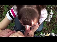 Girlfriend Public Blowjob Cock Student in the Wood - Oral Creampie