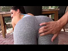 Son helps his horny Mother do Yoga in sexy tights