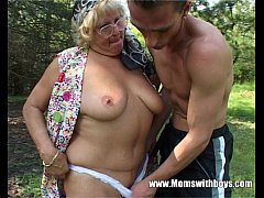 Horny Granny Fucks A Young Lad In The Woods