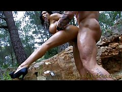 Latina teen fucking and sucking in the forest