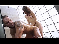 Nacho Vidal  pours rivers of milk over she perfect ass and showers her pretty face and tits with cream as he shoves his enormous cock into her mouth.