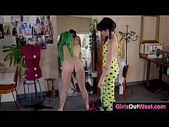 Hairy lesbian Emerald enjoys oral and fingering